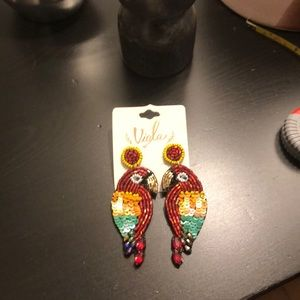 Multi color sequin/beaded Parrot Earrings